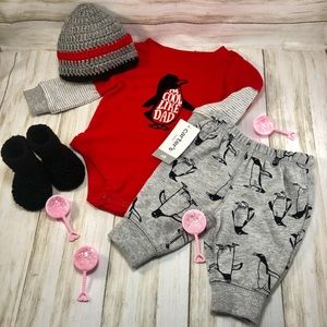 Red penguin bodysuit and jogger pants